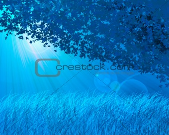 Abstract blue forest background