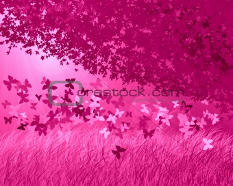 Abstract pink forest background