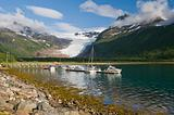 Boat,s fjord and glacier