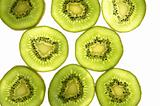 kiwi  transparent slices over white