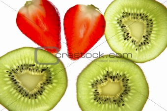 kiwi and strawberry  transparent slices