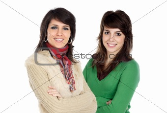 Beautiful couple of young woman