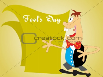 fools day background with cartoon