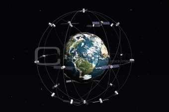 Satelite and earth