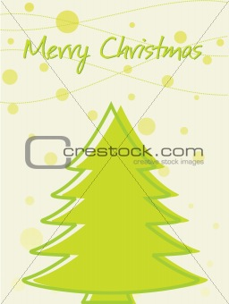 green background with christmas tree and snow