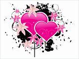 heart-shape with grunge flower pattern