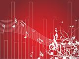 musical waves and floral elements isolated on red, wallpaper