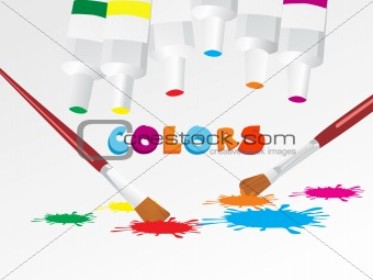 paint color and brush, vector illustration