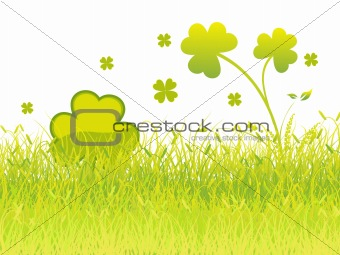 beautiful shamrock with grass vector 17 march
