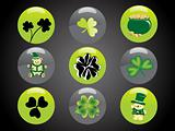 st. patrick's day button elements 17 march