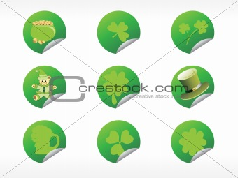 abstract shamrock with circle pattern button 17 march
