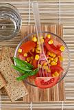 Tomato salad and basil