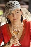 Beautiful Woman Drinking Wine