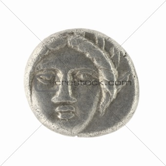 Apollo on Ancient Greek Half Drachm 400 BC