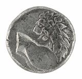 Lion on Ancient Greek Half Drachm 350 BC