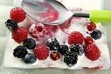 Mix of varied berries and cream