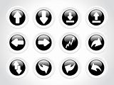 rounded arrow series icons, black