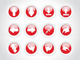rounded arrow series icons, red