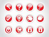 rounded beautiful web glassy icons set, red