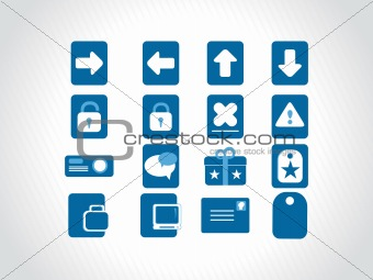 small icons for multipurpose use, blue
