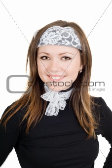 Portrait of the smiling young woman. Isolated