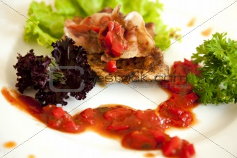 meat fried with spicy sauce and vegetables