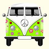 Flowered hippie van