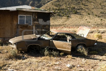 Abandoned Junk Car in Desert