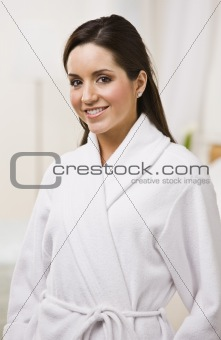 Attractive female in a bathrobe.