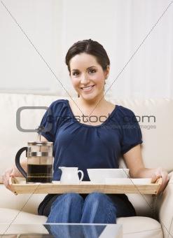 Beautiful Woman with Breakfast Tray