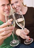 Attractive Young Couple Toasting