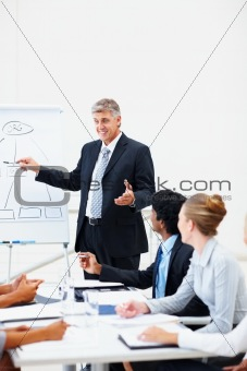 Mature business man giving a presentation at a meeting