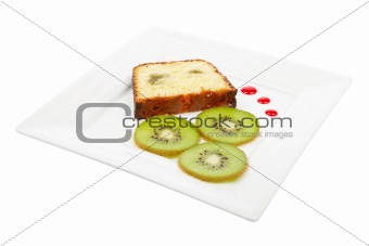 Slice of cake with kiwi