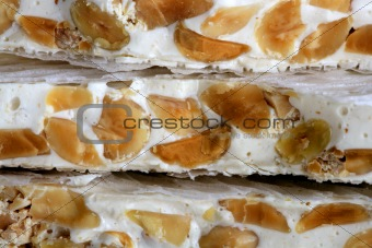 almonds and honey sweet nougat from spain