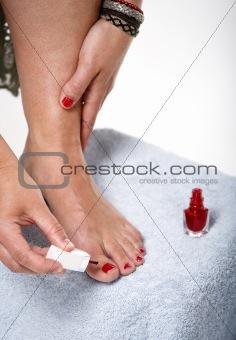 Toes with nail polish