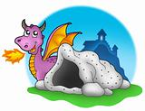 Purple dragon with cave