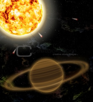A planet is Saturn and sun
