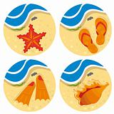 Bright set of beach stuff for your design