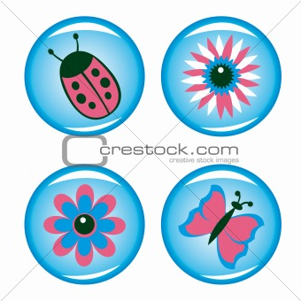 Four buttons for your design (flowers, ladybird, butterfly)