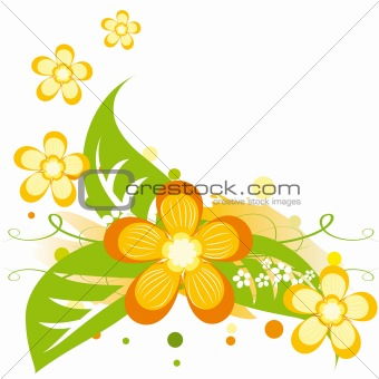 Bright summer background with abstract orange flowers