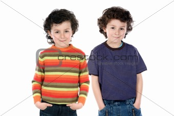 Funny couple of children twin