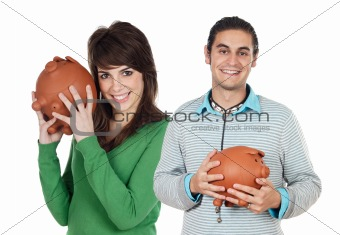 Attractive couple with money box