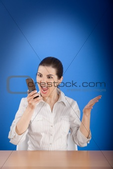 Angry woman calling at phone