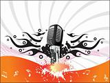 microphone with musical notes and wave, wallpaper