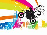 motocross rider in the air, illustration