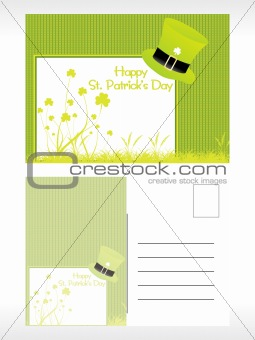 green hat pattern postcard