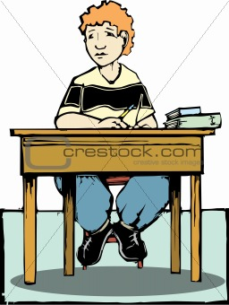 Boy sitting at desk