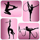 Rhythmic gymnastics silhouettes