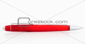 beautiful red ball point pen isolated on white background