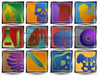 Biology Buttons Set - Square